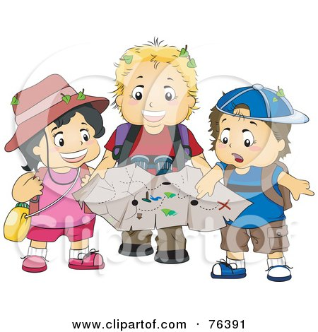 Royalty-Free (RF) Clipart Illustration of a Girl And Two Boys Exploring With A Treasure Map by BNP Design Studio