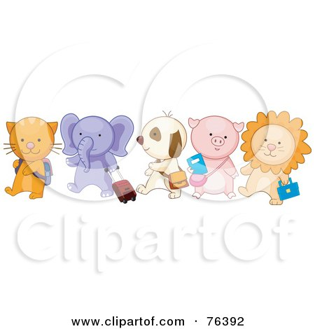 Royalty-Free (RF) Clipart Illustration of a Group Of School Animals Walking In Line; Cat, Elephant, Puppy, Piglet And Lion by BNP Design Studio