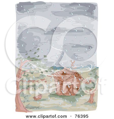 Royalty-Free (RF) Clipart Illustration of a Watercolor Of A Farm Barn During A Typhoon by BNP Design Studio