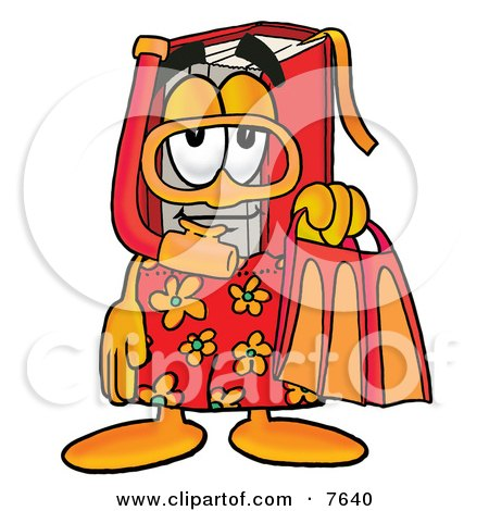 Clipart Picture of a Red Book Mascot Cartoon Character in Orange and Red Snorkel Gear by Toons4Biz