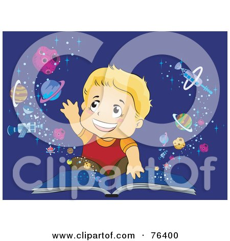 Royalty-Free (RF) Clipart Illustration of a Blond Boy Reaching Out To Touch Planets Emerging From An Open Book by BNP Design Studio
