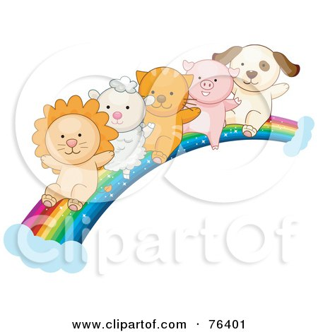 Royalty-Free (RF) Clipart Illustration of a Lion, Lamb, Kitten, Piglet And Puppy Sliding Down A Rainbow by BNP Design Studio