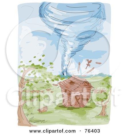 Watercolor Of A Tornado Heading Towards A Farm Barn Posters, Art Prints