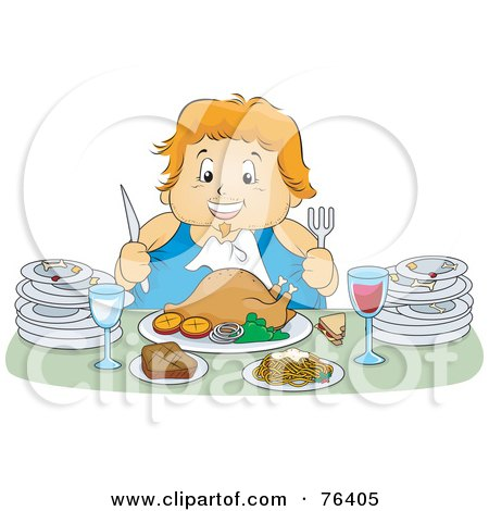 Royalty-Free (RF) Clipart Illustration of a Chubby Woman Feasting On A Turkey Meal, With Plates At Her Sides by BNP Design Studio