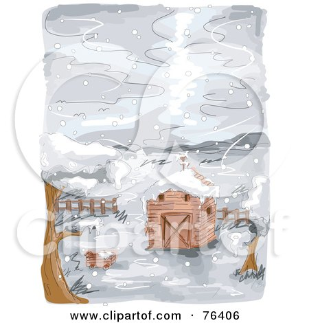 Royalty-Free (RF) Clipart Illustration of a Watercolor Of A Farm Barn In The Snow by BNP Design Studio