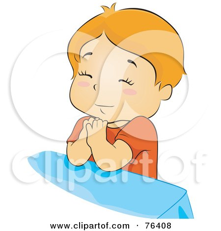 Royalty-Free (RF) Clipart Illustration of an Innocent Boy Praying At The Foot Of His Bed by BNP Design Studio