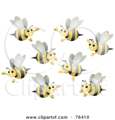 Royalty-Free (RF) Clipart Illustration of a Group Of Happy Bumble Bees Flying by BNP Design Studio