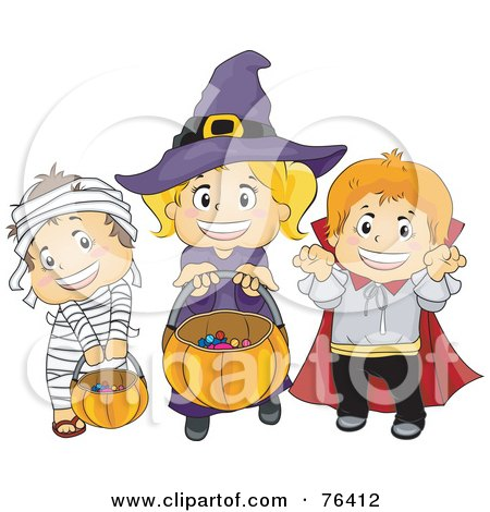 Royalty-Free (RF) Clipart Illustration of a Halloween Mummy, Witch And Vampire Trick Or Treating by BNP Design Studio