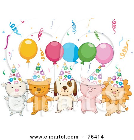 Royalty-Free (RF) Clipart Illustration of a Lamb, Kitten, Puppy, Piglet And Lion With Birthday Party Balloons And Confetti by BNP Design Studio