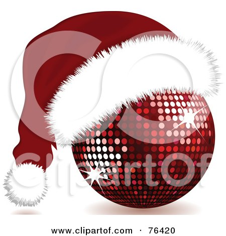 Royalty-Free (RF) Clipart Illustration of a Red Sparkling Disco Ball With A Santa Hat On by elaineitalia