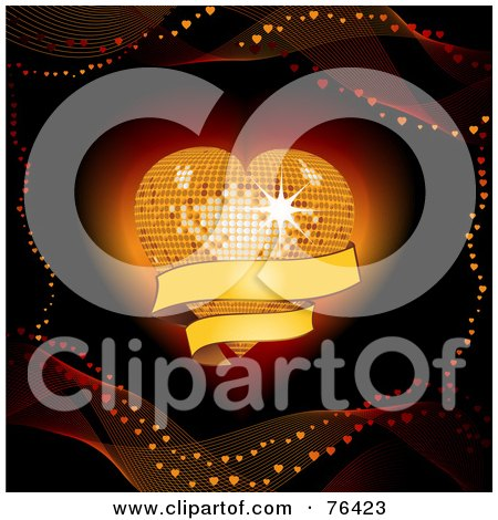 Royalty-Free (RF) Clip Art Illustration of a Mesh Waves Around A Glowing Disco Heart With A Blank Banner by elaineitalia