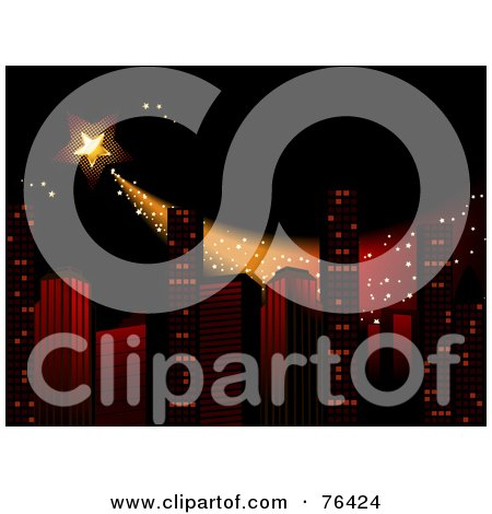 Royalty-Free (RF) Clipart Illustration of a Star Shooting Over Skyscrapers In A City At Night by elaineitalia