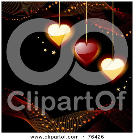Royalty-Free (RF) Clipart Illustration of Mesh Waves And Stars Around Gold And Red Heart Pendants On Black by elaineitalia