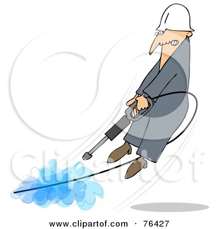 Royalty-Free (RF) Clipart Illustration of a Man Being Blown Off Of His Feet By A Powerful Pressure Washer Hose by djart