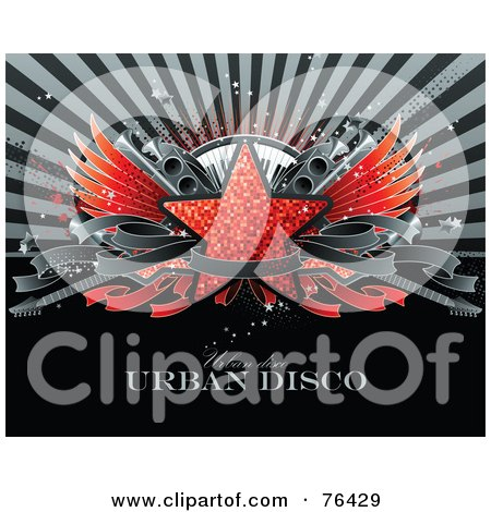 Royalty-Free (RF) Clipart Illustration of a Red Glitter Star With Wings, Speakers, A Keyboard, Guitars And A Blank Banner Over A Burst With Sample Text by elena