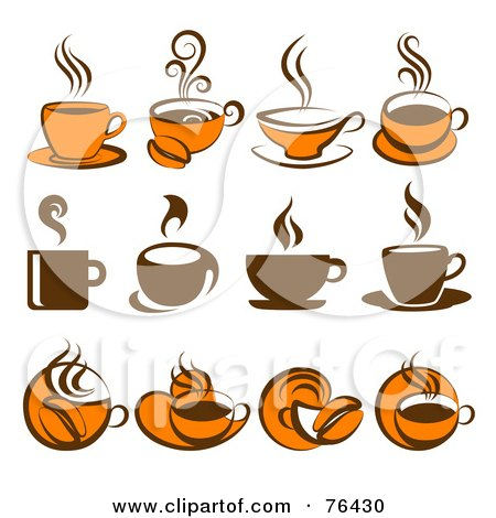 Royalty-Free (RF) Clipart Illustration of a Digital Collage Of Brown And Orange Coffee Logo Icons by elena