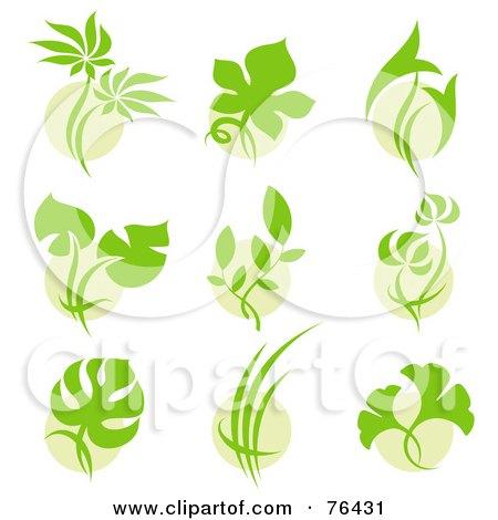 Orange Circle With Green Leaf Logo Digital collage of green leafOrange Circle With Green Leaf Logo