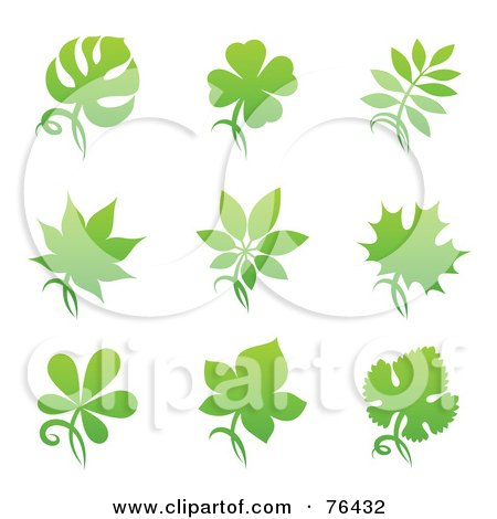 Royalty-Free (RF) Clipart Illustration of a Digital Collage Of Green Plant Leaf Logo Icons by elena