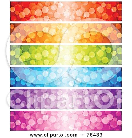 Royalty-Free (RF) Clipart Illustration of a Digital Collage Of Colorful Sparkly Light Website Banners by elena