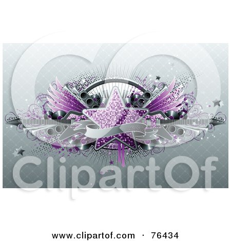 Royalty-Free (RF) Clipart Illustration of a Blank Banner Over A Purple Star, Keyboard, Wings, Speakers And Guitars On Gray by elena