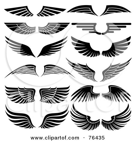 Royalty-Free (RF) Clipart Illustration of a Digital Collage Of Black And White Wing Logo Icons by elena