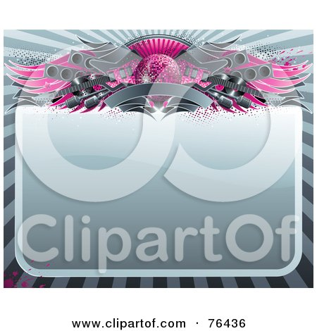 Royalty-Free (RF) Clipart Illustration of a Blank Shiny Sign Bordered With A Pink Disco Ball, Wings, Speakers, Guitars And A Banner by elena