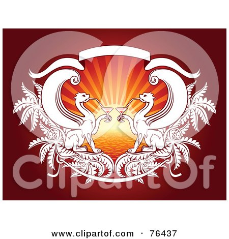 Royalty-Free (RF) Clipart Illustration of Two Gryphons Drinking Cocktails Against A Sunset On Red by elena