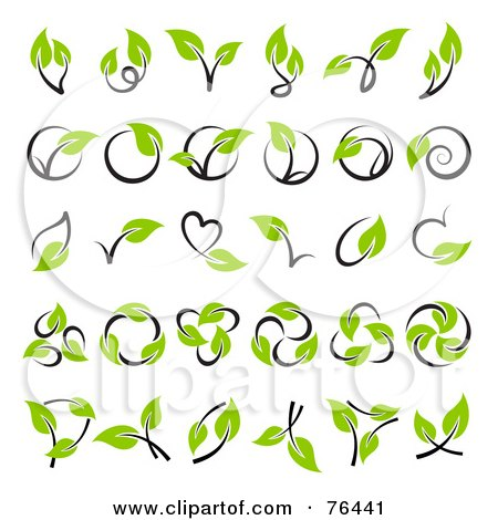 Royalty-Free (RF) Clipart Illustration of a Digital Collage Of Green Leaf And Stem Logo Icons by elena
