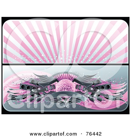 Royalty-Free (RF) Clipart Illustration of a Digital Collage Of Pink And Gray Website Banners; Starry Burst And Guitar Disco Ball by elena