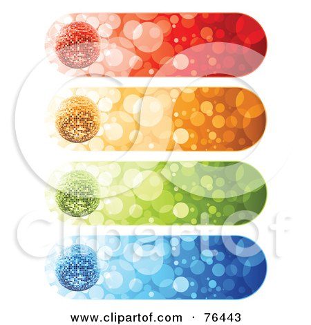 Royalty-Free (RF) Clipart Illustration of a Digital Collage Of Rounded Sparkly Disco Ball Website Banners On White by elena