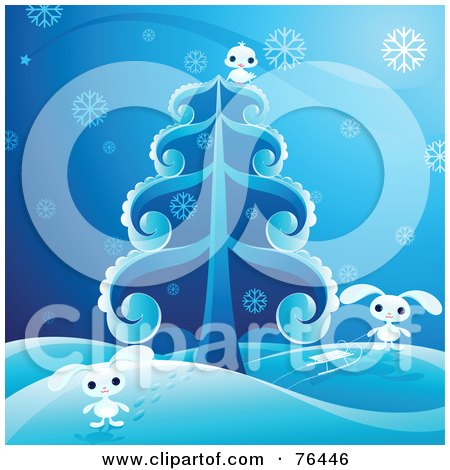 Adorable White Bunnies And A Bird Playing In The Snow Around An Evergreen Tree Posters, Art Prints