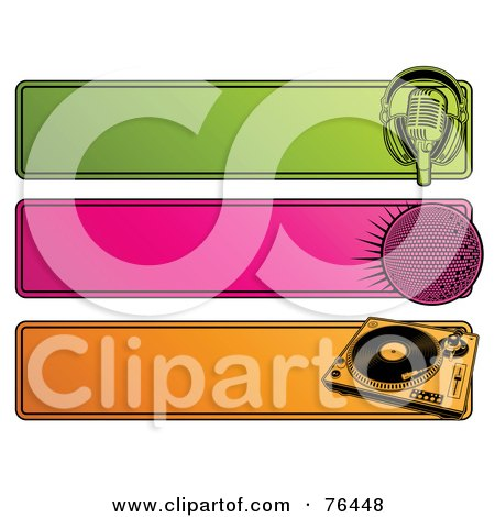 Royalty-Free (RF) Clipart Illustration of a Digital Collage Of Green, Pink And Orange Retro Website Headers; Microphone, Disco Ball And Record Player by elena