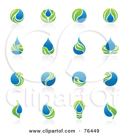 Royalty-Free (RF) Clipart Illustration of a Digital Collage Of Green Leaf And Water Droplet Logo Icons by elena