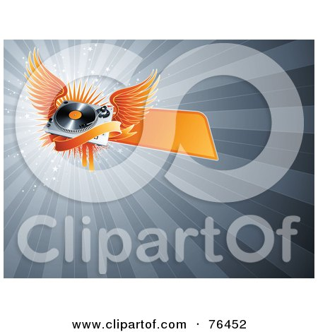 Royalty-Free (RF) Clipart Illustration of an Orange Winged Record Player With A Banner Over A Bursting Gray Background by elena