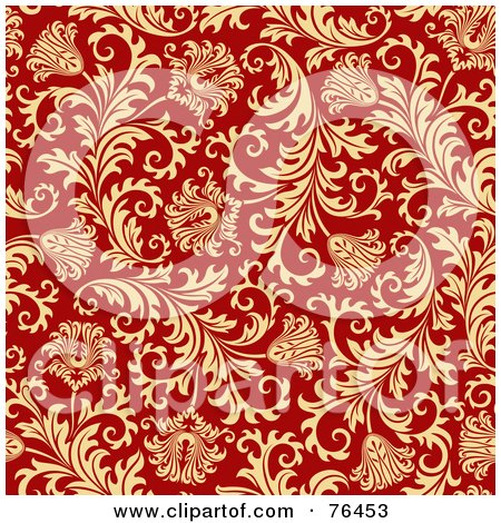 Royalty-Free (RF) Clipart Illustration of a Red Background With A Seamless Elegant Floral Design by elena