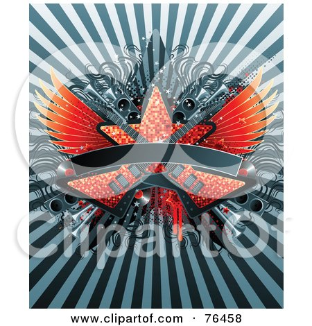 Bursting Background With Sparkly Guitars, Star, Speakers And Wings With A Blank Banner Posters, Art Prints