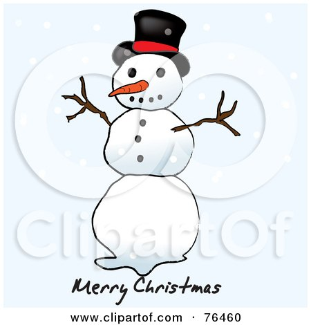 Royalty-Free (RF) Clipart Illustration of a Merry Christmas Top Hat Snowman Greeting With Snowflakes by Pams Clipart