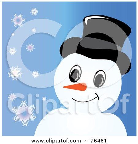 Royalty-Free (RF) Clipart Illustration of a Smiling Snowman With A Hat Over Blue With Snowflakes by Pams Clipart