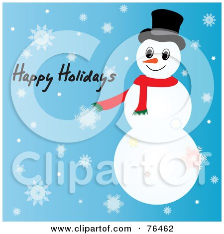 Royalty-Free (RF) Clipart Illustration of a Happy Holidays Snowman Greeting On Blue With Snowflakes by Pams Clipart
