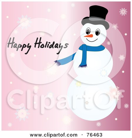 Royalty-Free (RF) Clipart Illustration of a Happy Holidays Snowman Greeting On Pink With Snowflakes by Pams Clipart
