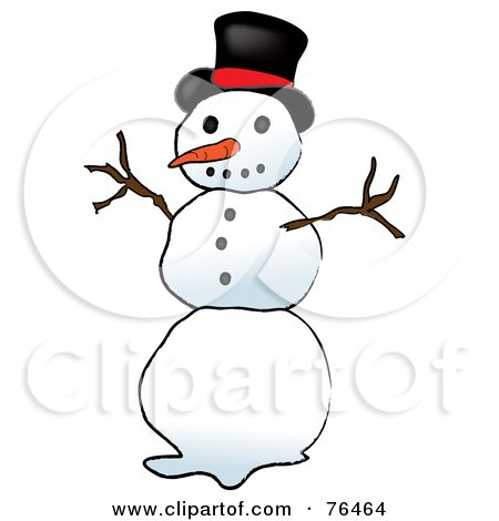 Royalty-Free (RF) Clipart Illustration of a Top Hat Snowman by Pams Clipart