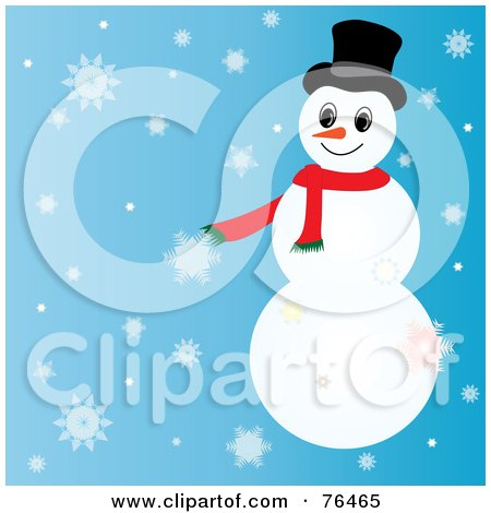 Royalty-Free (RF) Clipart Illustration of a Snowman With Ornaments On His Arms And A Santa Hat by Pams Clipart