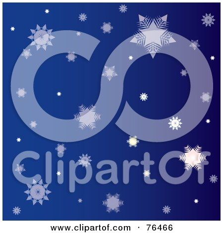 Royalty-Free (RF) Clipart Illustration of a Dark Blue Background Of Falling Winter Snowflakes by Pams Clipart