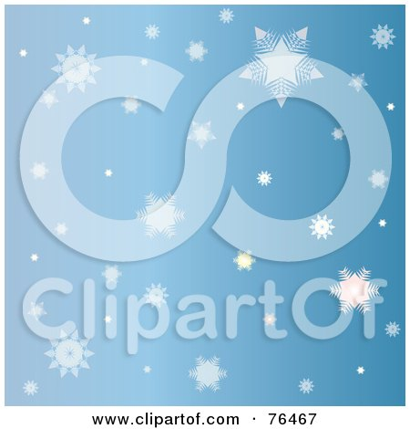 Royalty-Free (RF) Clipart Illustration of a Blue Background Of Falling Winter Snowflakes by Pams Clipart