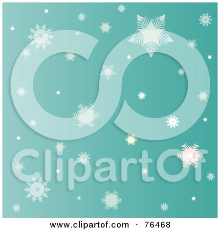 Royalty-Free (RF) Clipart Illustration of a Greenish Background Of Falling Winter Snowflakes by Pams Clipart