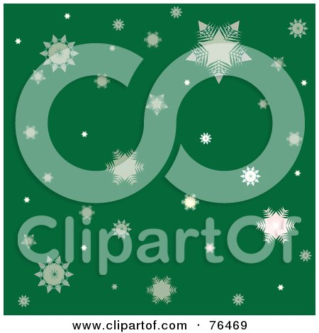 Royalty-Free (RF) Clipart Illustration of a Green Background Of Falling Winter Snowflakes by Pams Clipart