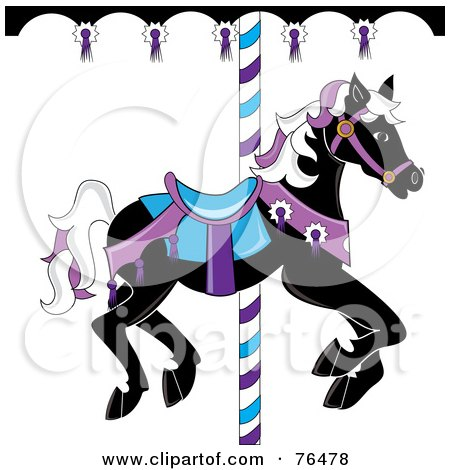 Royalty-Free (RF) Clipart Illustration of a Black Carousel Horse With White And Purple Hair by Pams Clipart