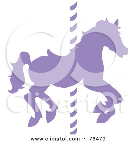 Royalty-Free (RF) Clipart Illustration of a Silhouetted Purple Carousel Horse On A Pole by Pams Clipart