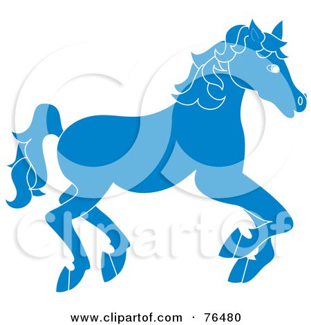 Royalty-Free (RF) Clipart Illustration of a Running Blue Carousel Horse by Pams Clipart