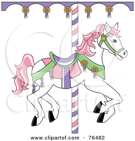 Royalty-Free (RF) Clipart Illustration of a White Carousel Horse With Pink Hair by Pams Clipart